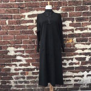 Pauline Trigere Vtg 70s Wool High Neck Dress M 8